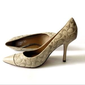 Coach Monogram Cream Leather Pump Heels